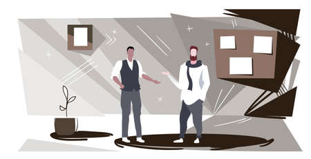 businessmen couple discussing new project during meeting businesspeople colleagues standing together teamwork concept modern office interior sketch horizontal full length vector illustration Illustration