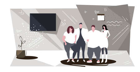 businesspeople group standing together successful teamwork concept business people office workers corporate employees looking at camera modern office interior sketch full length horizontal vector illustration