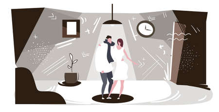 business couple man woman partners embracing each other businesspeople colleagues standing together friendship in office concept full length sketch horizontal vector illustration