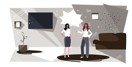 women couple discussing during meeting two girls talking in living room at home chatting about their relations modern apartment interior sketch horizontal full length vector illustration