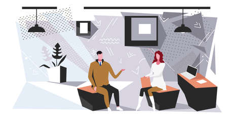 businesspeople couple sitting at office man woman brainstorming meeting or interview concept business people partners discussing new project or future strategy sketch full length horizontal vector illustration Illustration