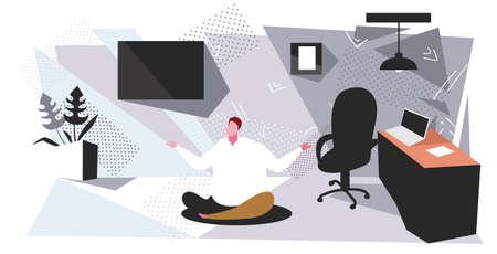 fat businessman sitting lotus pose on floor obese business man keeping calm yoga meditation concept modern office interior sketch horizontal vector illustration