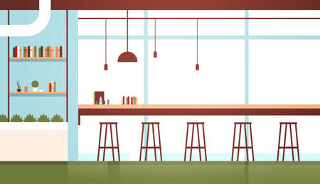 modern cafe interior empty no people restaurant cafeteria design flat horizontal vector illustration