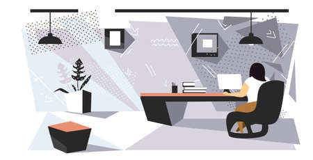 businesswoman sitting at workplace desk overweight woman using laptop working process concept modern office interior sketch rear view full length horizontal vector illustration