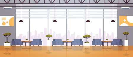 modern cafe interior empty no people restaurant cafeteria design panoramic window modern cityscape view flat horizontal vector illustration