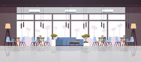 modern cafe interior empty no people restaurant cafeteria lounge area design flat horizontal banner vector illustration
