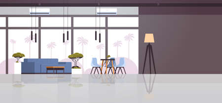 modern cafe interior empty no people restaurant cafeteria lounge area design flat horizontal vector illustration Ilustração