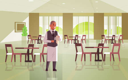 professional waiter polishing wine glass with towel man restaurant worker in uniform modern cafe interior flat full length horizontal vector illustration