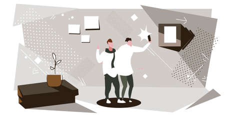men using smartphone camera taking selfie photo guys having fun standing together showing two fingers gesture modern office interior sketch horizontal full length vector illustration