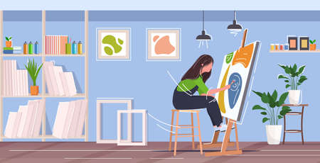 painter using paintbrush and palette woman artist sitting in front of easel art creativity hobby creative occupation concept modern workshop studio interior full length horizontal vector illustration Illustration