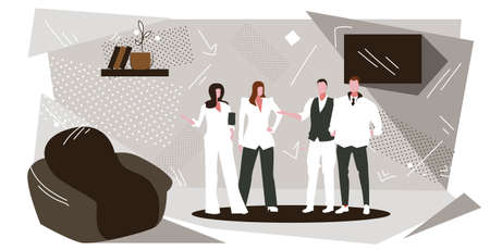 businesspeople group standing together successful teamwork concept business people office workers corporate employees discussing during meeting modern office interior sketch full length horizontal vector illustration