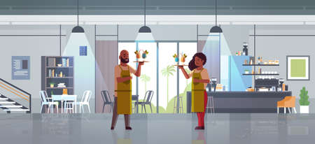 waiters holding serving trays with cocktails african american man woman restaurant workers in aprons carrying different alcohol drinks modern cafe interior flat full length horizontal vector illustration