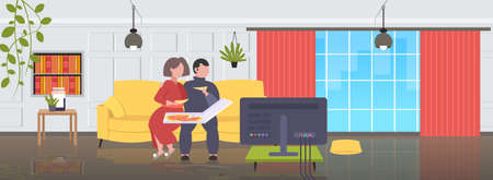 fat obese man woman sitting on couch eating pizza fast food unhealthy nutrition concept couple watching tv on sofa modern living room interior flat full length horizontal vector illustration