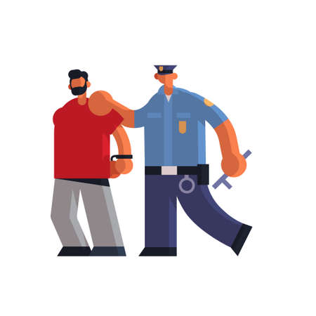 male police officer arrested criminal policeman in uniform holding caught suspect thief security authority justice law service concept flat full length white background vector illustration Ilustração