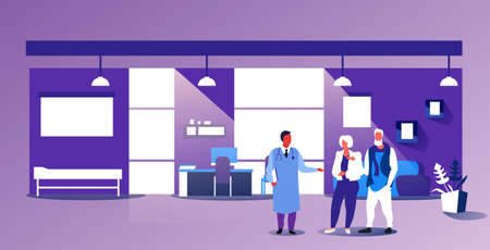 senior couple visiting female doctor giving medical consultation and prescription for mature man woman patients healthcare concept modern hospital office interior sketch horizontal full length vector illustration Stock Illustratie