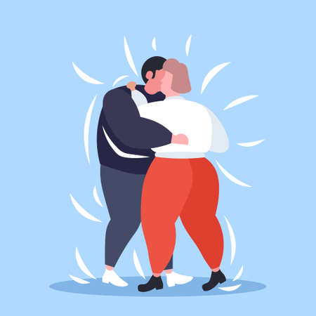 fat obese couple dancing together overweight man woman embracing weight loss obesity concept flat full length vector illustration Illustration