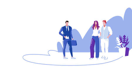 colleagues discussing new project during meeting businesspeople team standing together business communication concept sketch full length horizontal vector illustration