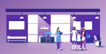 parents with child visiting female family doctor giving prescription for patients healthcare medical consultation concept modern office interior sketch horizontal full length vector illustration