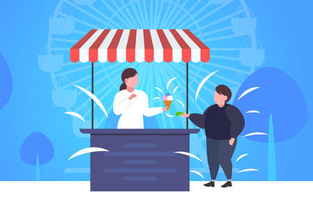 fat obese boy buying ice cream at food stall unhealthy nutrition obesity concept guy having fun public park ferris wheel landscape background full length flat horizontal vector illustration Illustration