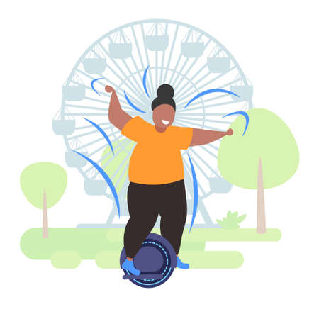 fat obese woman riding self balancing scooter african american girl standing on electric gyroscooter personal electrical transport obesity concept urban park ferris wheel background full length vector illustration