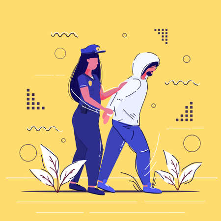 female police officer arrested criminal policewoman in uniform holding caught suspect thief security authority justice law service concept sketch full length vector illustration Ilustração