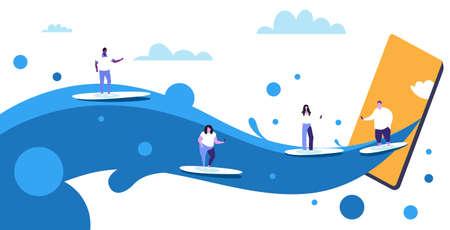 surfers using cellphones surfing on waves men women on surfboards digital addiction technology concept smartphone screen online mobile app sketch full length horizontal vector illustration