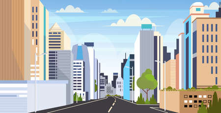 highway asphalt road city skyline modern buildings high skyscrapers cityscape background flat horizontal vector illustration