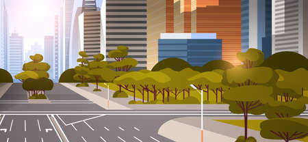 highway asphalt road with marking arrows traffic signs city skyline modern skyscrapers cityscape sunset background flat horizontal vector illustration Stockfoto - 130381123