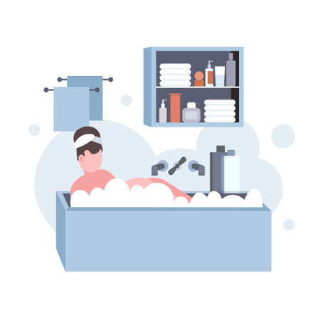fat obese woman washing relaxing in bath with foam overweight girl lying in bathtub obesity concept modern bathroom interior flat full length vector illustration Banque d'images - 130611461