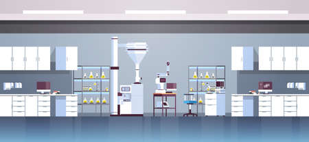 empty no people chemical research laboratory with different equipment scientist workplace science education chemistry concept modern lab interior flat horizontal vector illustration