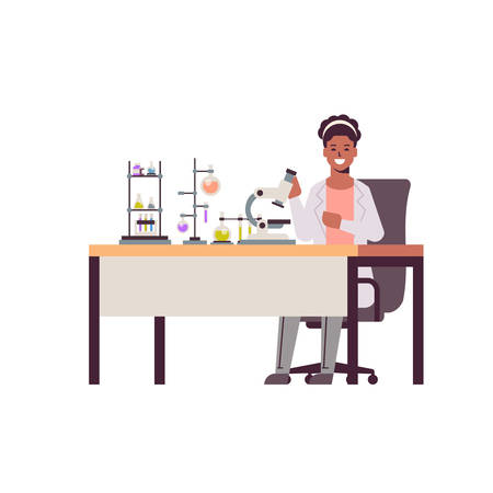 female scientist working with microscope african american woman in uniform sitting at table making scientific experiments chemistry laboratory with test tubes research science concept full length vector illustration Çizim
