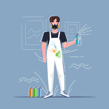 male graffiti artist in respiratory mask using aerosol spray man painter in overalls art creativity hobby creative occupation concept full length vector illustration