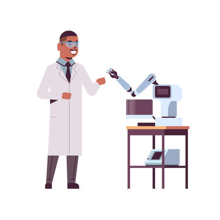 male scientist near industrial robotic arm african american man in uniform with robot manipulator smart medical machine automatic technology concept full length flat vector illustration