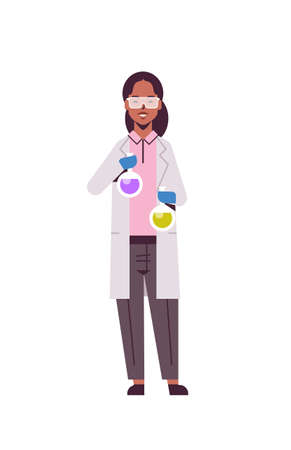 female scientist holding test tubes with colorful liquid african american woman in uniform holding flasks making experiment in laboratory research science chemical concept vertical full length vector illustration