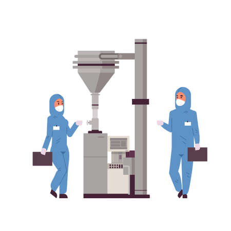 scientists couple working with control panel pressing start button on special machine man woman in protective suits pharmaceutical items production concept full length vector illustration