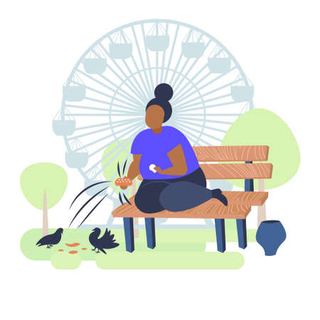 fat obese woman holding bread and feeding flock of pigeon overweight african american girl sitting on wooden bench obesity concept public park landscape ferris wheel background flat full length vector illustration
