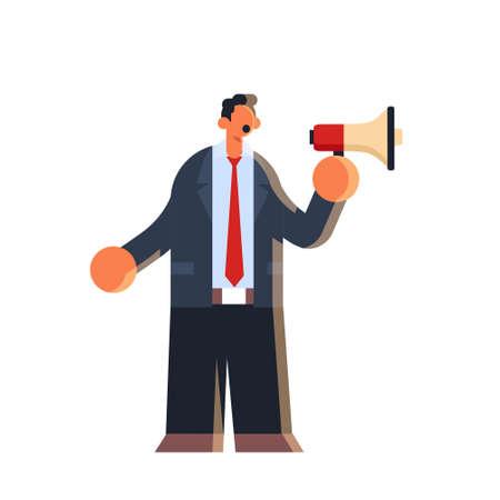 businessman holding megaphone loudspeaker business man standing with bullhorn making announcement communication concept male office worker in formal wear flat full length vector illustration Иллюстрация