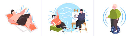set fat obese people in different poses overweight male female characters collection obesity unhealthy lifestyle concept flat full length horizontal vector illustration