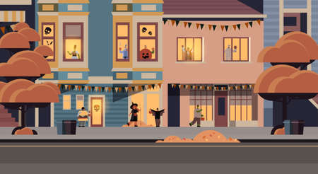 people wearing different monsters costumes walking in town tricks and treat happy halloween party celebration concept city street buildings exterior cityscape background full length horizontal vector illustration 向量圖像