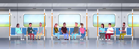 people inside subway metro train mix race passengers sitting in public transport concept horizontal flat full length vector illustration