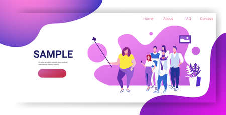 fat woman holding selfie stick businesswoman with colleagues group taking photo on smartphone camera coworkers team standing together sketch full length horizontal copy space vector illustration