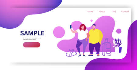 man woman taking selfie photo airport passengers at waiting hall departure people travelers couple standing with baggage holiday vacation concept sketch horizontal full length copy space vector illustration Ilustrace