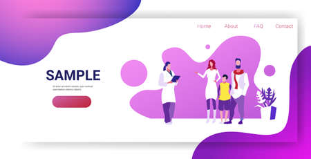 parents with child visiting female family doctor giving prescription for patients healthcare medical consultation concept sketch horizontal full length copy space vector illustration