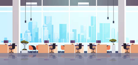 creative office co-working center empty no people workspace with furniture modern cabinet interior flat horizontal vector illustration