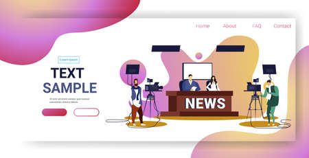 male presenter interviewing woman in television studio tv live news show video camera shooting crew broadcasting concept sketch full length horizontal copy space vector illustration Иллюстрация