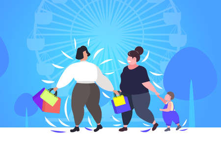 fat obese women with child holding shopping bags overweight girls walking with little boy outdoor big sale obesity concept public park ferris wheel background flat full length horizontal vector illustration Illustration