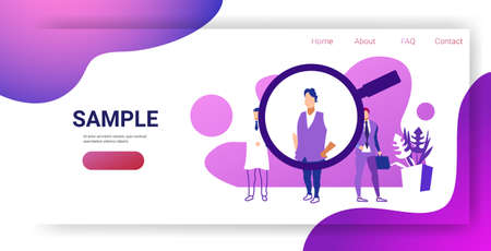 recruitment magnifying zoom choosing business person candidate hr human resources searching employee candidate job position concept sketch horizontal full length copy space vector illustration