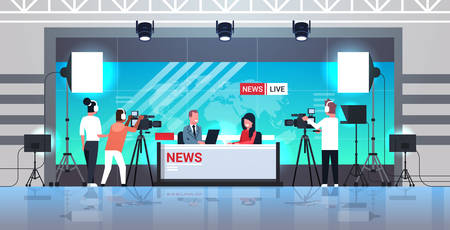 male presenter interviewing woman in television studio tv live news show video camera shooting crew broadcasting concept flat full length horizontal vector illustration