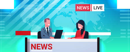 male presenter interviewing woman in television studio tv live news show video camera shooting crew broadcasting concept flat portrait horizontal vector illustration