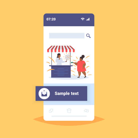 fat obese girl buying ice cream at food stall unhealthy nutrition obesity concept female african american child having fun smartphone screen online mobile application full length flat vector illustration